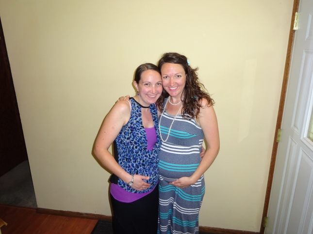 My dear sister, Christie, who was also pregnant at the time, just passing the 13 week mark!
