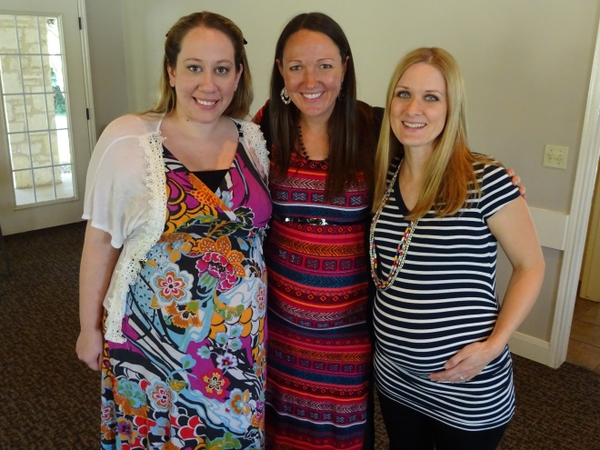 The preggos (minus one who had already left).  Due October, November, and December (from left to right)