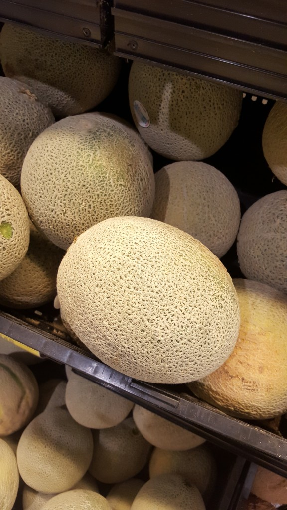 A cantaloupe was supposed to represent 34 weeks of pregnancy. We skipped over this pic.