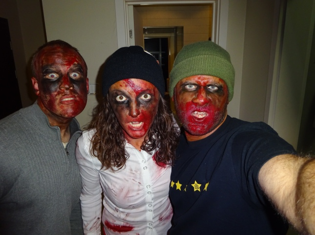 The three of us all set and ready to be ZOMBIES...