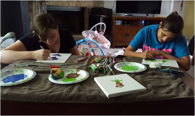 The girls working on their Father's Day projects.